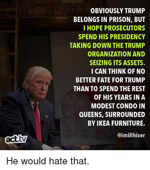 modest: OBVIOUSLY TRUMP  BELONGS IN PRISON, BUT  I HOPE PROSECUTORS  SPEND HIS PRESIDENCY  TAKING DOWN THE TRUMP  ORGANIZATION AND  SEIZING ITS ASSETS.  CAN THINK OF NO  BETTER FATE FOR TRUMP  THAN TO SPEND THE REST  OF HIS YEARS IN A  MODEST CONDO IN  QUEENS, SURROUNDED  BY IKEA FURNITURE.  @imillhiser  act.tv He would hate that.