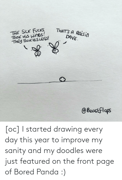 Panda: [oc] I started drawing every day this year to improve my sanity and my doodles were just featured on the front page of Bored Panda :)