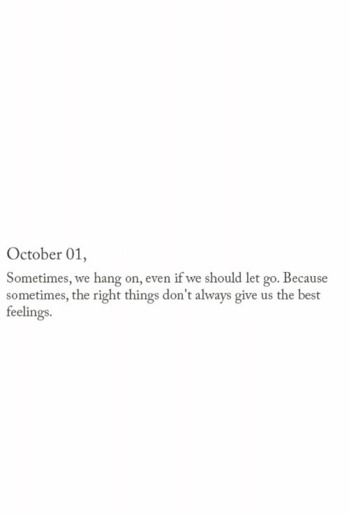 Let Go: October 01,  Sometimes, we hang on, even if we should let go. Because  sometimes, the right things don't always give us the best  feelings.