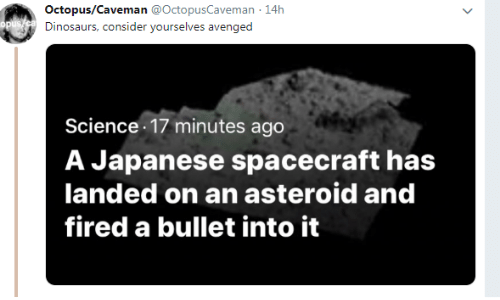 asteroid: Octopus/Caveman @OctopusCaveman 14h  Dinosaurs, consider yourselves avenged  Science 17 minutes ago  A Japanese spacecraft has  landed on an asteroid and  fired a bullet into it