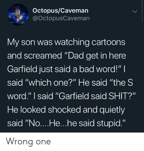 "caveman: Octopus/Caveman  @OctopusCaveman  My son was watching cartoons  and screamed ""Dad get in here  Garfield just said a bad word!"" I  said ""which one?"" He said ""the S  word."" I said ""Garfield said SHIT?""  He looked shocked and quietly  said ""No....He...he said stupid."" Wrong one"