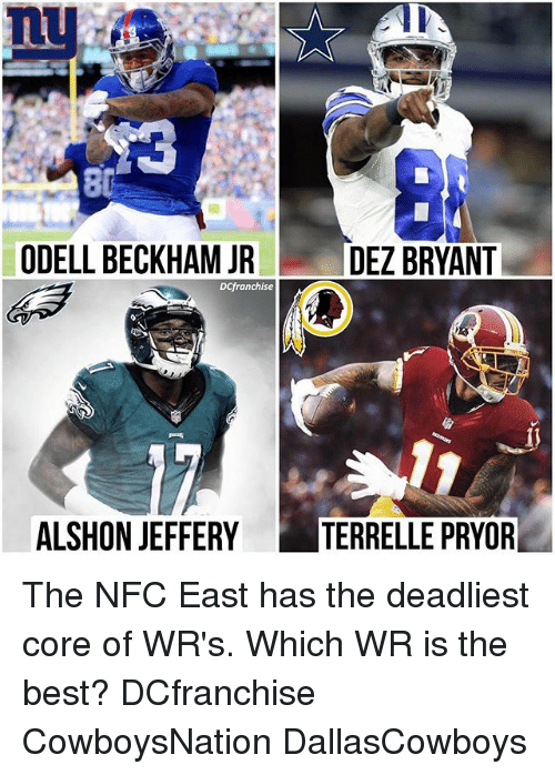 Dez Bryant, Memes, and Odell Beckham Jr.: ODELL BECKHAM JR  DEZ BRYANT  DCfranchise  ALSHON JEFFERY  TERRELLE PRYOR The NFC East has the deadliest core of WR's. Which WR is the best? DCfranchise CowboysNation DallasCowboys