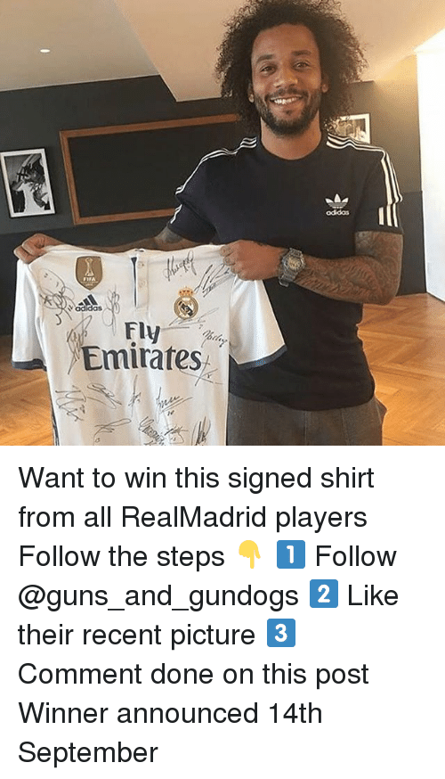 dones: odidas  Vadidas  Fly  Emirates Want to win this signed shirt from all RealMadrid players Follow the steps 👇 1️⃣ Follow @guns_and_gundogs 2️⃣ Like their recent picture 3️⃣ Comment done on this post Winner announced 14th September