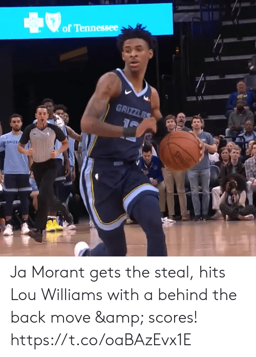 Behind The: of Tennessee  GRIZZLES  GRIZZ  SPL Ja Morant gets the steal, hits Lou Williams with a behind the back move & scores! https://t.co/oaBAzEvx1E