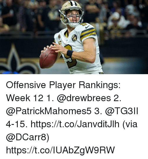 Memes, 🤖, and Player: Offensive Player Rankings: Week 12  1. @drewbrees 2. @PatrickMahomes5 3. @TG3II 4-15. https://t.co/JanvditJlh (via @DCarr8) https://t.co/IUAbZgW9RW