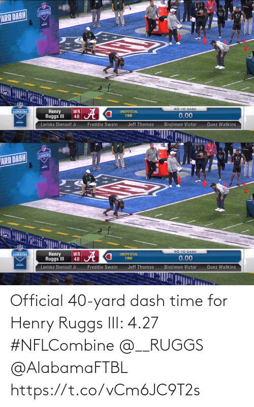 henry: Official 40-yard dash time for Henry Ruggs III: 4.27  #NFLCombine @__RUGGS @AlabamaFTBL  https://t.co/vCm6JC9T2s