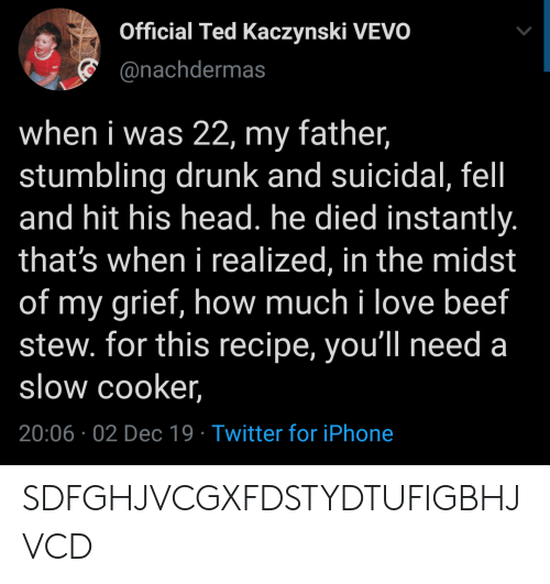 Instantly: Official Ted Kaczynski VEVO  @nachdermas  when i was 22, my father,  stumbling drunk and suicidal, fel  and hit his head. he died instantly.  that's when i realized, in the midst  of my grief, how much i love beef  stew. for this recipe, you'll need a  slow cooker,  20:06 02 Dec 19 Twitter for iPhone SDFGHJVCGXFDSTYDTUFIGBHJVCD