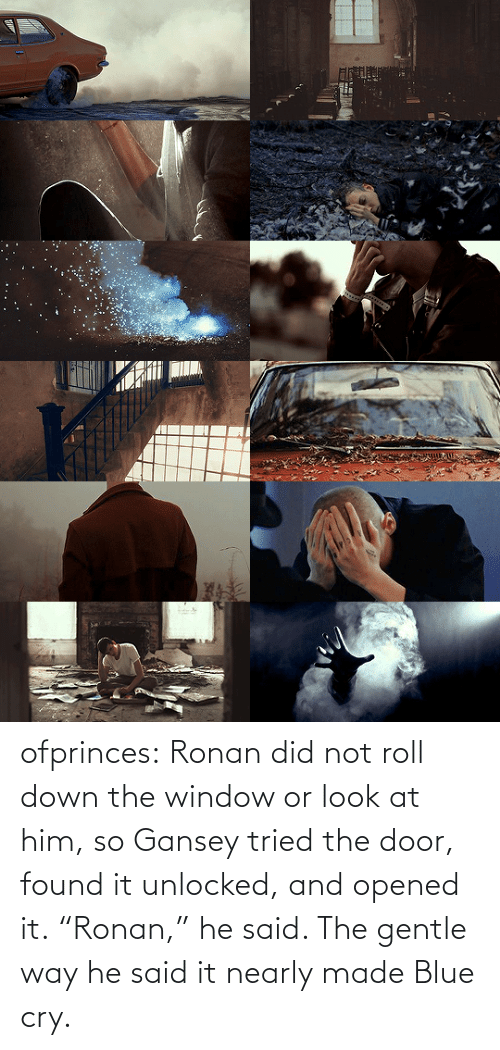 "Found: ofprinces: Ronan did not roll down the window or look at him, so Gansey tried the door, found it unlocked, and opened it. ""Ronan,"" he said. The gentle way he said it nearly made Blue cry."