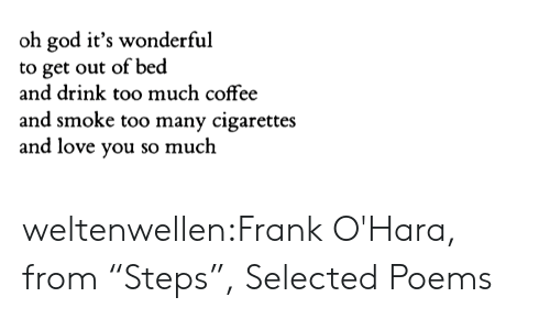 "God, Love, and Too Much: oh god it's wonderful  to get out of bed  and drink too much coffee  and smoke too many cigarettes  and love you so much weltenwellen:Frank O'Hara, from ""Steps"", Selected Poems"