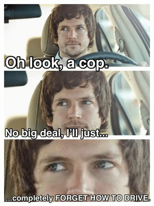 Oh Look: Oh look, a cop  No big deal, P'll just...  .completely FORGET HOW TO DRIVE