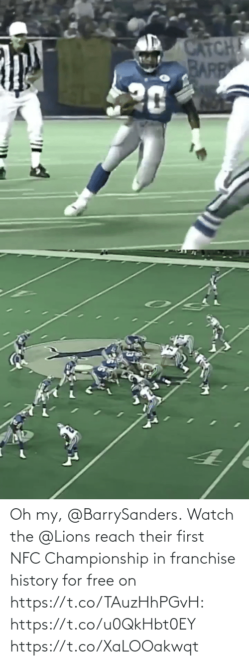 Championship: Oh my, @BarrySanders.  Watch the @Lions reach their first NFC Championship in franchise history for free on https://t.co/TAuzHhPGvH: https://t.co/u0QkHbt0EY https://t.co/XaLOOakwqt