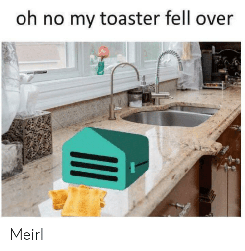toaster: oh no my toaster fell over Meirl