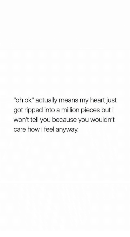 """I Wont Tell: """"oh ok"""" actually means my heart just  got ripped into a million pieces but i  won't tell you because you wouldn't  care how i feel anyway."""