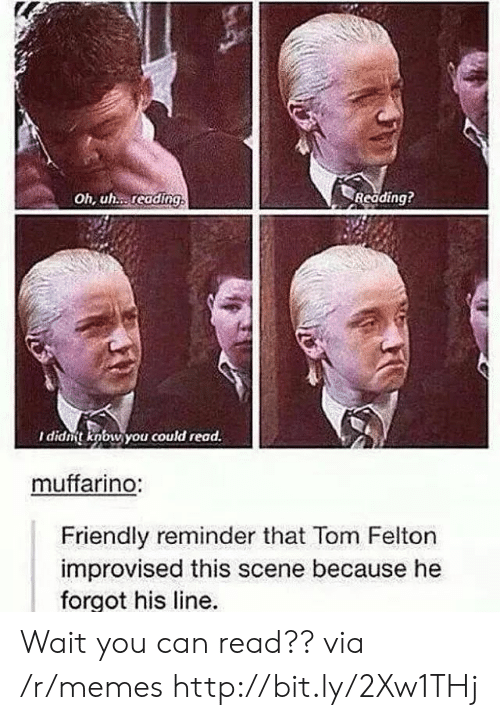 Memes, Http, and Can: Oh, uh. reading  Reading?  I didnt knbw you could read.  muffarino:  Friendly reminder that Tom Felton  improvised this scene because he  forgot his line. Wait you can read?? via /r/memes http://bit.ly/2Xw1THj