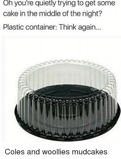 Memes, Cake, and The Middle: Oh you're quietly trying to get some  cake in the middle of the night?  Plastic container: Think again... Coles and woollies mudcakes