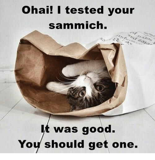 sammich: Ohai! I tested your  sammich.  was good  Yoy should get one.