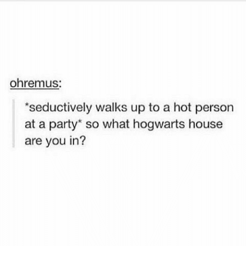 Memes, Party, and House: ohrenmus:  seductively walks up to a hot person  at a party so what hogwarts house  are you in?