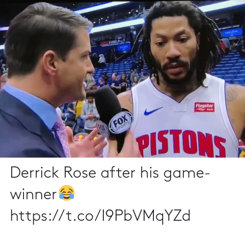 Game Winner: OI00.R  arrcdou  Flagstar  FOX  FOX  Bnk  SPORTS  PISTONS Derrick Rose after his game-winner😂 https://t.co/I9PbVMqYZd