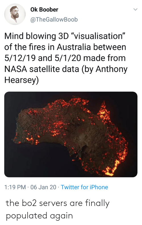"""Populated: Ok Boober  @TheGallowBoob  Mind blowing 3D """"visualisation""""  of the fires in Australia between  5/12/19 and 5/1/20 made from  NASA satellite data (by Anthony  Hearsey)  1:19 PM · 06 Jan 20 · Twitter for iPhone the bo2 servers are finally populated again"""
