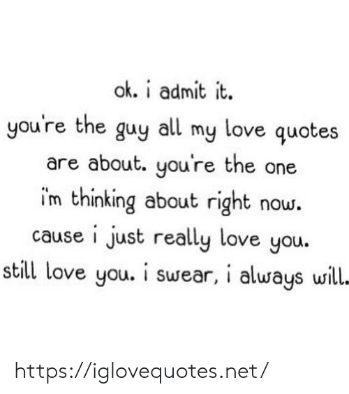 Love, Quotes, and Net: ok. i admit it  you're the guy all my love quotes  are about. you're the one  im thinking about right now.  cause i just really love you.  still love you. i swear, i always will- https://iglovequotes.net/