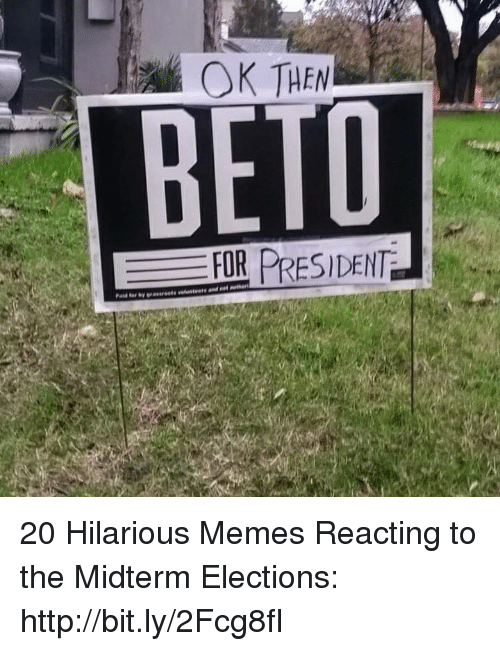 Elections: OK THEN  BETD  FOR PRESIDENT 20 Hilarious Memes Reacting to the Midterm Elections: http://bit.ly/2Fcg8fI