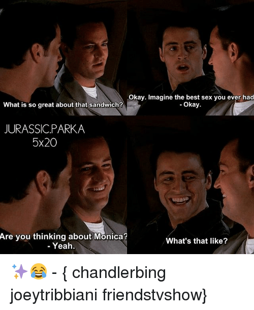 Best Sexes: okay. Imagine the best sex you ever had  Okay  What is so great about that sandwich?  JURASSIC PARKA  5x20  Are you thinking about Monica?  What's that like?  Yeah ✨😂 - { chandlerbing joeytribbiani friendstvshow}