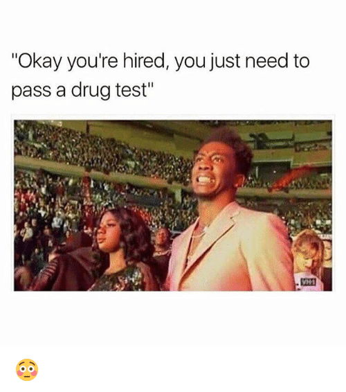 "Testes: ""Okay you're hired, you just need to  pass a drug test"" 😳"