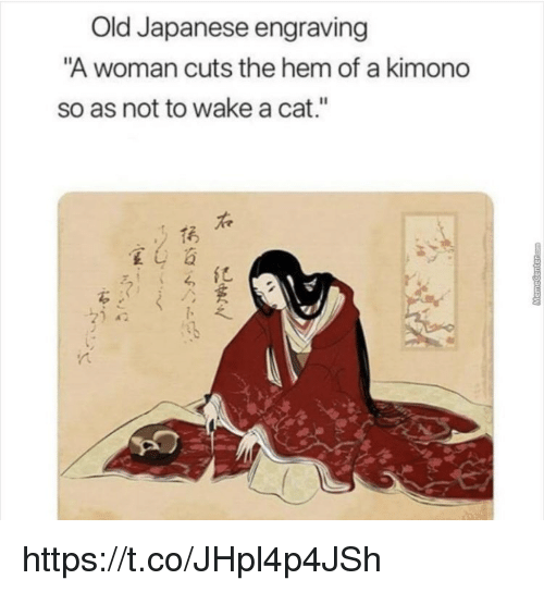 """kimono: Old Japanese engraving  A woman cuts the hem of a kimono  so as not to wake a cat.""""  1굵  紀 https://t.co/JHpl4p4JSh"""