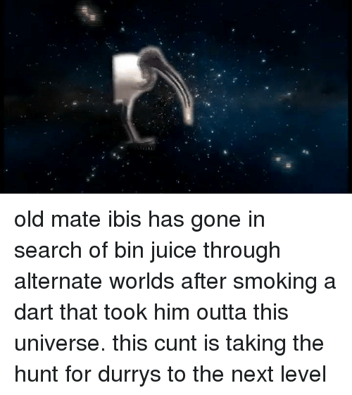 Dank, Hunting, and Cunt: old mate ibis has gone in search of bin juice through alternate worlds after smoking a dart that took him outta this universe. this cunt is taking the hunt for durrys to the next level