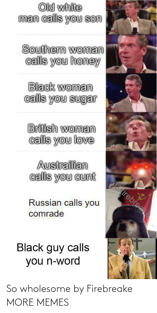 Dank, Love, and Memes: Old white  man calls you son  Southern woman  calls you honey  Black woman  calls you sugar  British woman  calls you love  Austrailian  calls you cunt  Cirirebreake  Russian calls you  comrade  Black guy calls  you n-word So wholesome by Firebreake MORE MEMES