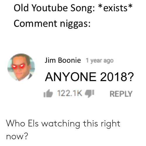 els: Old Youtube Song: *exists*  Comment niggas:  Jim Boonie 1 year ago  ANYONE 2018?  122.1KREPLY Who Els watching this right now?
