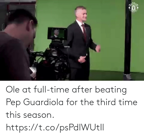 After: Ole at full-time after beating Pep Guardiola for the third time this season. https://t.co/psPdlWUtIl