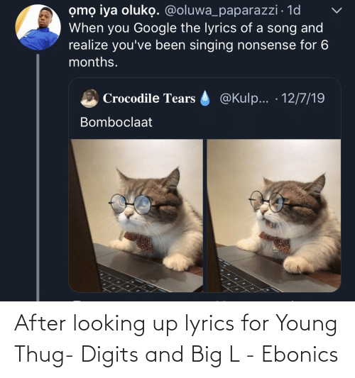 Young Thug: omọ iya oluko. @oluwa_paparazzi · 1d  When you Google the lyrics of a song and  realize you've been singing nonsense for 6  months.  @Kulp... · 12/7/19  Crocodile Tears  Bomboclaat After looking up lyrics for Young Thug- Digits and Big L - Ebonics