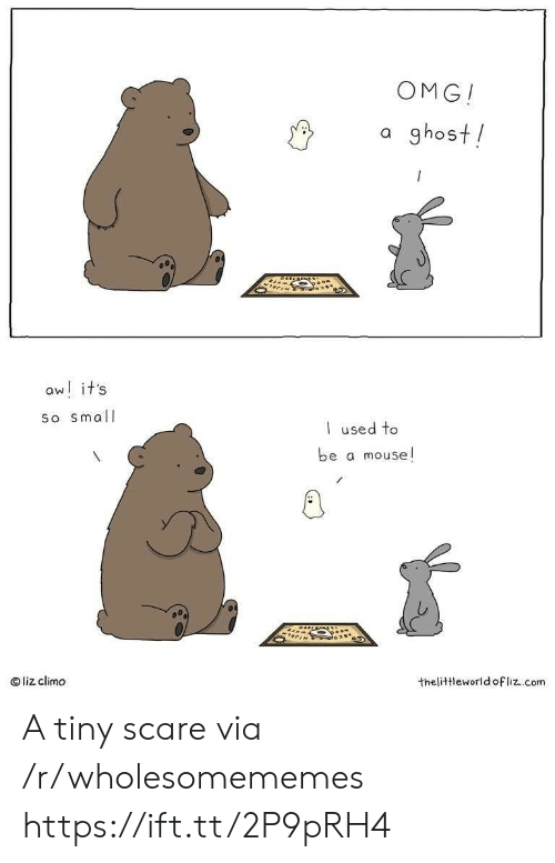 liz: OMG!  a ghost!  aw! it's  So small  used to  be a mouse!  liz climo  thelittleworld ofliz.com A tiny scare via /r/wholesomememes https://ift.tt/2P9pRH4