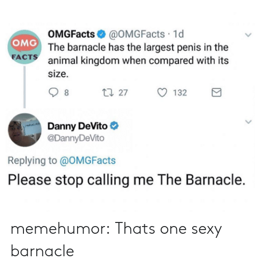 kingdom: OMGFacts@OMGFacts 1d  OMG The barnacle has the largest penis in the  FACTS  animal kingdom when compared with its  size  t27  132  8  Danny DeVito  @DannyDeVito  Replying to @OMG Facts  Please stop calling me The Barnacle. memehumor:  Thats one sexy barnacle