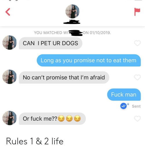 Dogs, Life, and Fuck: ON 01/10/2019  YOU MATCHED WI  CAN I PET UR DOGS  Long as you promise not to eat them  No can't promise that I'm afraid  Fuck man  Sent  Or fuck me?? Rules 1 & 2 life