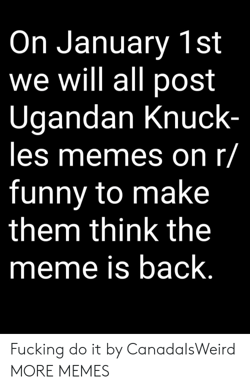 Dank, Fucking, and Funny: On January 1st  we will all post  Ugandan Knuck  les memes on r/  funny to make  them think the  meme is back Fucking do it by CanadaIsWeird MORE MEMES