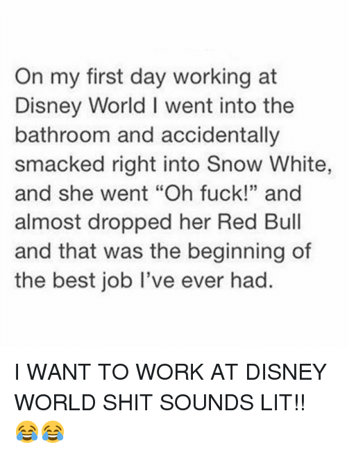 """Snow White: On my first day working at  Disney World I went into the  bathroom and accidentally  smacked right into Snow White,  and she went """"Oh fuck!"""" and  almost dropped her Red Bull  and that was the beginning of  the best job I've ever had.  35 I WANT TO WORK AT DISNEY WORLD SHIT SOUNDS LIT!! 😂😂"""
