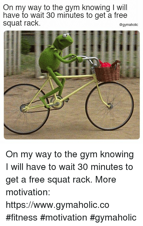 Squat: On my way to the qym knowing I will  have to wait 30 minutes to get a free  squat rack.  @gymaholic On my way to the gym knowing  I will have to wait 30 minutes to get a free squat rack.  More motivation: https://www.gymaholic.co  #fitness #motivation #gymaholic