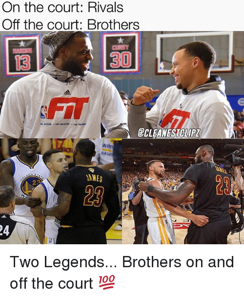 Memes, Rivals, and 🤖: On the court: Rivals  Off the court: Brothers  13  1  30  FIT  @CLEANESTCLIP  2  23 Two Legends... Brothers on and off the court 💯