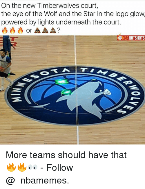 Memes, Nba, and Star: On the new Timberwolves court,  the eye of the Wolf and the Star in the logo glow  powered by lights underneath the court.  or血血血?  NBA HOTSHOTS More teams should have that 🔥🔥👀 - Follow @_nbamemes._
