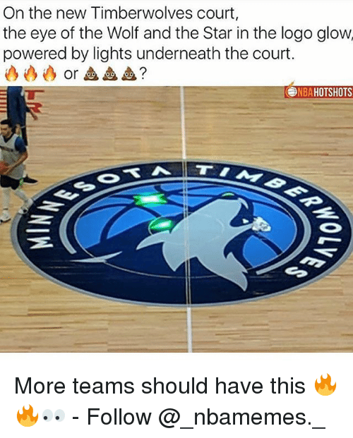 Memes, Star, and Wolf: On the new Timberwolves court,  the eye of the Wolf and the Star in the logo glow  powered by lights underneath the court.  or血血血?  NBAHOTSHOTS More teams should have this 🔥🔥👀 - Follow @_nbamemes._