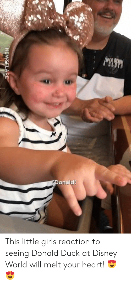 disney world: onald! This little girls reaction to seeing Donald Duck at Disney World will melt your heart! 😍😍