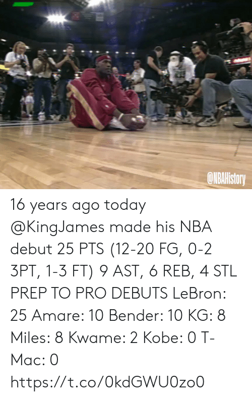 Bender: ONBAHistory 16 years ago today @KingJames made his NBA debut 25 PTS (12-20 FG, 0-2 3PT, 1-3 FT) 9 AST, 6 REB, 4 STL   PREP TO PRO DEBUTS LeBron: 25 Amare: 10 Bender: 10 KG: 8 Miles: 8 Kwame: 2 Kobe: 0 T-Mac: 0   https://t.co/0kdGWU0zo0