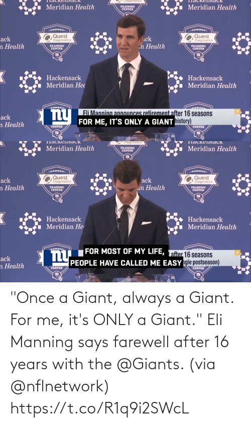 "With: ""Once a Giant, always a Giant.  For me, it's ONLY a Giant.""  Eli Manning says farewell after 16 years with the @Giants. (via @nflnetwork) https://t.co/R1q9i2SWcL"
