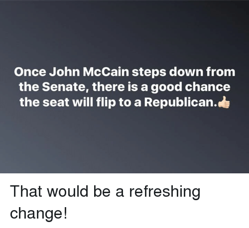 Memes, Good, and Change: Once John McCain steps down from  the Senate, there is a good chance  the seat will flip to a Republican. That would be a refreshing change!