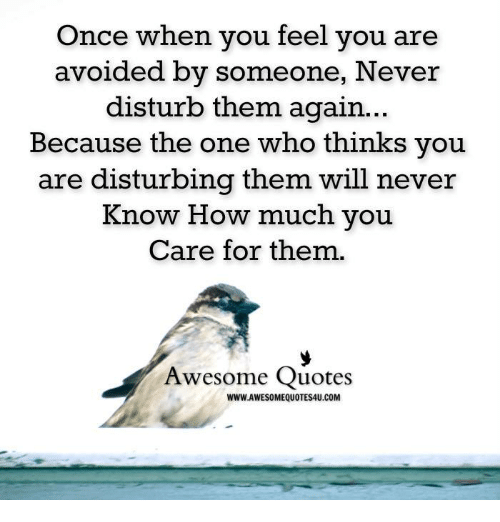 Once When You Feel You Are Avoided By Someone Never Disturb Them