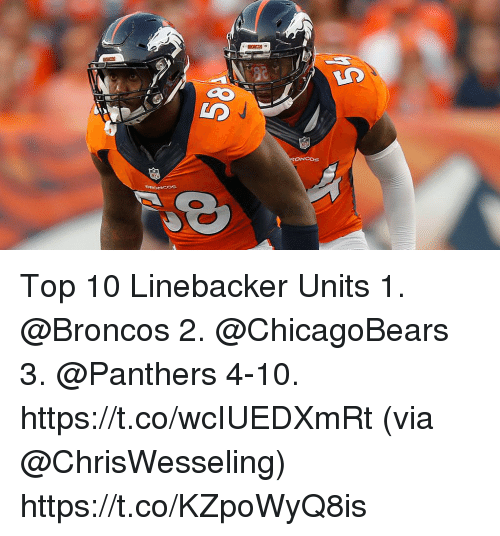 Memes, Broncos, and Panthers: ONCOSs Top 10 Linebacker Units  1. @Broncos 2. @ChicagoBears 3. @Panthers 4-10. https://t.co/wcIUEDXmRt (via @ChrisWesseling) https://t.co/KZpoWyQ8is