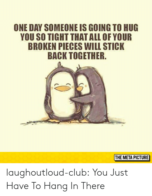 Club, Tumblr, and Blog: ONE DAY SOMEONE IS GOING TO HUG  YOU SO TIGHT THATALL OF YOUR  BROKEN PIECES WILL STICK  BACK TOGETHER  THE META PICTURE laughoutloud-club:  You Just Have To Hang In There