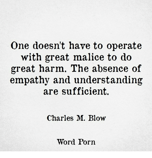 Malice: One doesn't have to operate  with great malice to do  great harm. The absence of  empathy and understanding  are sufficient.  Charles M. Blow  Word Porn